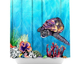 Shower Curtain Sea Turtle Painting Artistic Bathroom Colorful Modern Peaceful Bathroom Decor