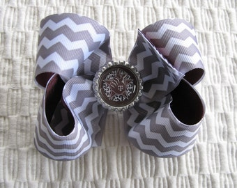 3053 Aggie maroon, gray and white double ribbon boutique bow