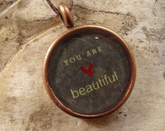 You Are Beautiful Round Pendant Necklace