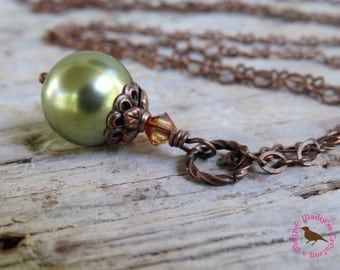 Sage Green Pearl Pendant Necklace, Antiqued Copper Chain, Sage Green Pearl Pendant on Long  Copper Chain by Magpie Madness for Etsy