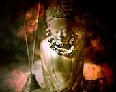 Red Buddha photograph - yoga room art - meditation Buddha art - red brown black - large wall art - fine art photography