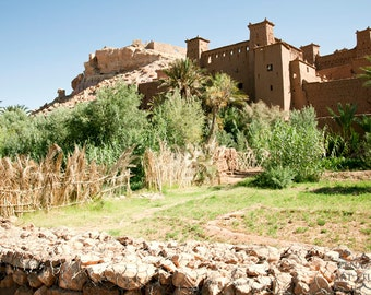 Morocco photography, Moroccan landscape, Ait Ben Haddou fortified city, large wall art, African photo