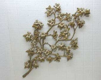 "Vintage Burwood 4208 Wall Hanging Gold Floral 40"" X 20"""