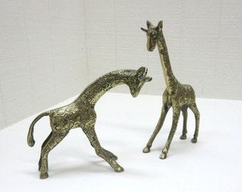 Vintage Brass Giraffe Figurines