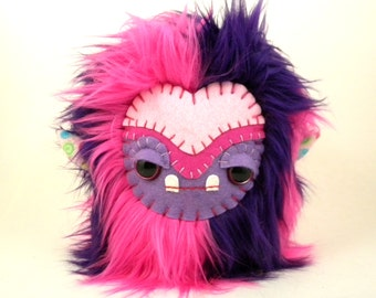 Stuffed Animal Cute Plush Toy Monster Tween Girl's Gift Kawaii Plushie Hot Pink and Purple Fur Toy 7 inches tall medium size