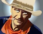 Pre-made Art Rendering John Wayne 8X10 or 11x14 Digital Art Western, The Duke