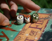 3 Elf Owls: Harry Potter Inspired Owlery Minitures (grey, white, red)