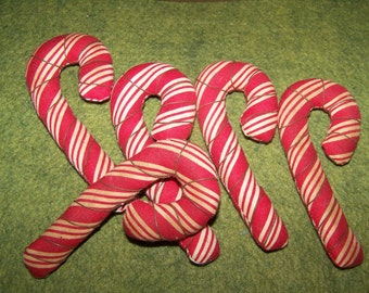Primitive Chritmas Candy Canes wrapped with rusty wire set of 5 Ornies Bowl Fillers