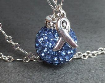 Blue Crystal Colon Cancer Awareness Silver Necklace
