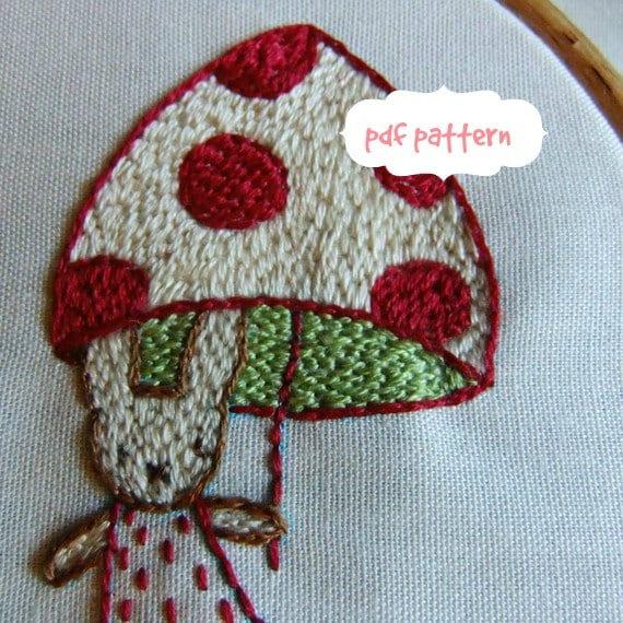 autumn rabbits embroidery pattern pdf