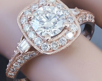 GIA H-SI1 14k Rose Gold Round Cut Diamond Engagement Ring Antique Style Prong 1.75ctw