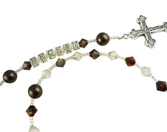 Christening Baptism Rosary with name- Boy or Girl-Topaz Blend, brown & crystal or any colors-Gift First Communion Personalized-ornate cross