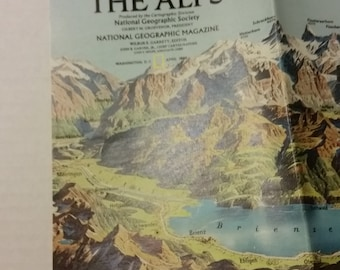 The Alps, National Geographic map, A Traveler's Guide to the Alps, 1985