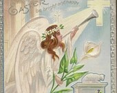RESERVED LISTING (CAN) Embossed Unused Vintage Easter Postcard Angel With Calla Lily Spring Violets – Lovely Christian Postcard