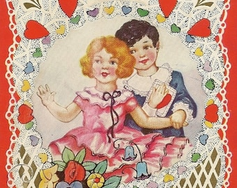 Vintage Whitney Publishing Bright and Colorful Valentine's Day Postcard Boy and Girl in Fancy Clothes