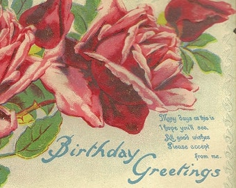 Vintage Birthday Postcard Lavish Red Roses and Birthday Verse 1911
