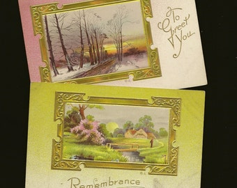Pair of Romantic Embossed Gold Framed Countryside Scene Vintage Postcards 1912