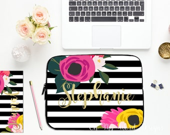 Personalized Laptop Sleeve-Water Color Flowers-Laptop Sleeve-Laptop Sleeve-Neoprene Laptop Sleeve-Laptop Cover-Watercolor Roses
