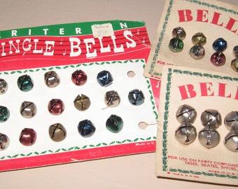 Vintage Bells Jingle Bells On Original Cards Multi Color And Silver Criterion Bell Co