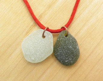 Sea Glass Pendants 2 pcs / Beach Glass Charms Top Drilled /Jewelry Supplies Top Drilled Glass Beads with Copper Jumprings