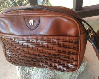 Vintage 90's AIGNER Mini Leather WOVEN Handbag