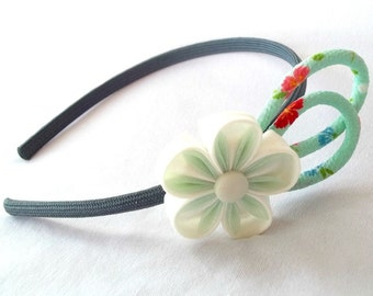 Wearable Fiber Art Headband with Kanzashi Flower and Chirimen Crepe Cord Loops Mint and Ivory