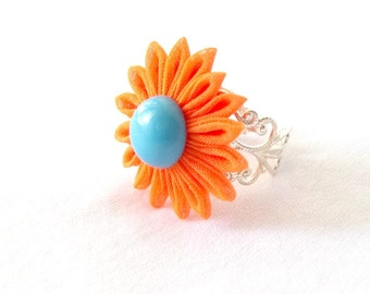Unique Flower Ring Orange and Blue Kanzashi Chunky Jewelry Adjustable Statement Ring