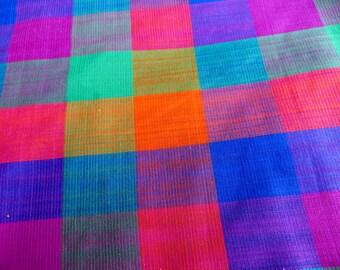 Bright Plaid Cotton Fabric Yardage