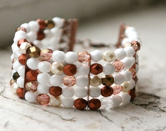Beaded glass and copper bracelet