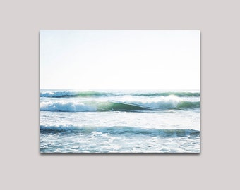 Large Art, Coastal Blue White, Wave Photograph, Surf Decor, Canvas Gallery Wrap, Ready To Hang Art, Beach Decor, Oversized Art, Ocean  Waves