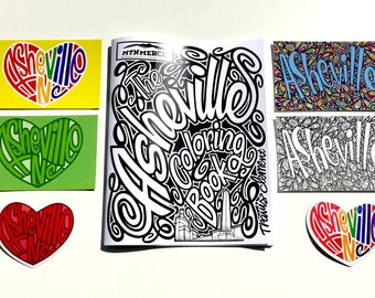 Asheville Gift Pack, Asheville Coloring Book, Asheville Bumper Sticker, Asheville City Souvenir, Recycled Paper Postcard, AVL North Carolina