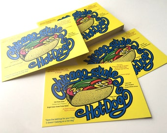 Chicago Hot Dog Postcard, Chicago Style Hot Dog, Hot Dog Postcard, Recycled Paper Postcard, Chicago Art Postcard, Hot Dog Ingredients
