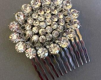 Bridal Hair Comb with Rhinestone focal in silver tone metal stunning wedding hair accessory head piece head band veil decorative hair combs