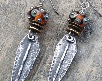 Artisan Earring #13...Wayne Robbins glass with pewter drop