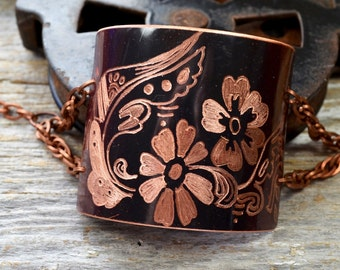 Hand Patinaed & Engraved with Indian Mehndi Design Copper Cuff Bracelet : ReaganJuel