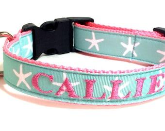 Personalized Embroidered Dog ID Collar - Aqua and White Starfish Personalized Dog Collar