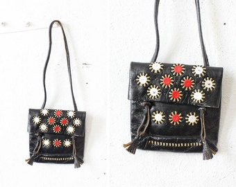 80s Black Leather Tribal Purse • Envelope Embroidered Leather Purse • Boho Leather Bag with Tassels | B503