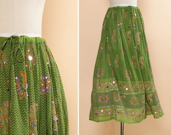 Green Boho Maxi Skirt • Indian Skirt • Paisley Sequin Skirt • Festival Skirt • Rayon Skirt • Full Skirt • Dancing Skirt | SK476