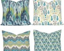 SALE Turquoise Pillows Covers - Teal Pillow Covers - Sofa Pillows - Burlap Pillow Shams - Throw Pillow Cover, Aqua Green Pillow Cover 22 x 2