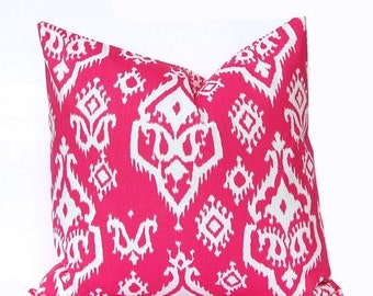 SALE Hot Pink Pillow Cover - Pink Ikat Pillow - Hot Pink and White Pillow Cover - Decorative Throw Pillow Covers - Pink Cushion Covers