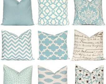 Sale Decorative Pillow Cover, Village Blue Pillow Cover, Throw Pillow, Pillows, Toss Pillow, Accent Pillow, Village Blue and Natural, 1- 18