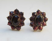 Vintage Bohemian Rose Cut Natural Garnet Over 4.0 Carats and 14k Solid Yellow Gold Halo Stud Pierced Earrings