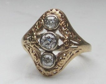 Antique Filigree Old European Cut Diamond and 14k Solid Yellow Gold Ring, Size 5.25