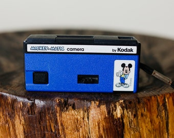 Small Blue Mickey Mouse Disney Mickey-Matic Kodal 110 Film Camera with Wrist Strap