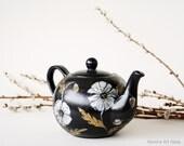Teapot, Hand Painted, Black Teapot, Ceramic Teapot,  White Poppy Gold Silver