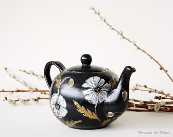 Teapot, Hand Painted, Black Teapot, Ceramic Teapot,  White Poppy Gold Silver