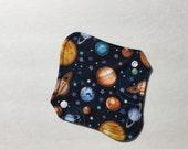 "Cloth Panty Liner Organic Cotton Fleece 8"" Planets"