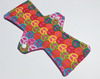 10 Inch Cloth Menstrual Pad Regular Flow Peace Sign