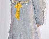 Vintage 1960s Gray Cotton Sailor Mini Dress Shift With Gold Trim 36 Inch Bust