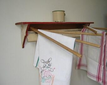 Antique Wooden Dryer Rack Kitchen Towel Dryer Shelf Tulip Design ~ Handmade ~ OOAK Vintage Kitchen Laundry Decor